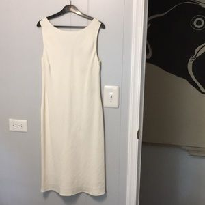 Cream colored lined linen dress